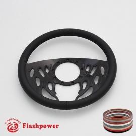 """Flames 14"""" Black Billet Steering Wheel with Full Wrap"""