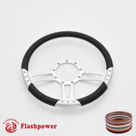 "Trinity 14"" Satin Billet Steering Wheel with Half Wrap Rim"