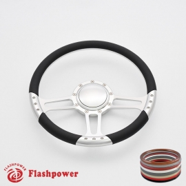 "Trinity 14"" Satin Billet Steering Wheel with Half Wrap and Horn Button"
