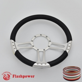 """Trinity 14"""" Polished Billet Steering Wheel with Full Wrap"""
