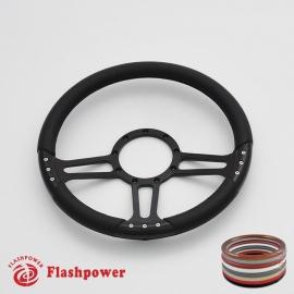"""Trinity 14"""" Black Billet Steering Wheel with Full Wrap"""