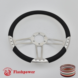 "Trinity VI 14"" Polished Billet Steering Wheel with Half Wrap Rim"