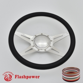 "Racer 14"" Polished Billet Steering Wheel with Half Wrap and Horn Button"
