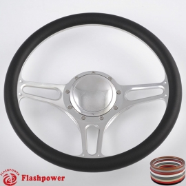 "Troika 14"" Polished Billet Steering Wheel with Half Wrap and Horn Button"