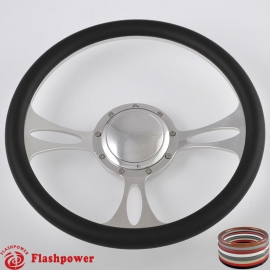 """Vectra 14"""" Polished Billet Steering Wheel with Half Wrap and Horn Button"""