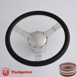 "5-String Banjo 14"" Polished Billet Steering Wheel Kit Half Wrap with Horn Button and Adapter"