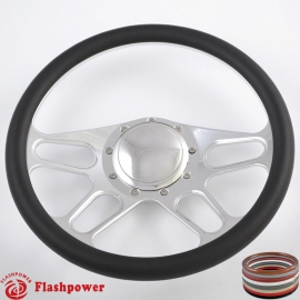 """Trickster 14"""" Polished Billet Steering Wheel with Half Wrap and Horn Button"""