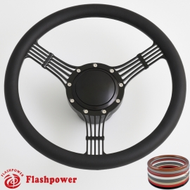 "5-String Banjo 14"" Black Billet Steering Wheel Kit Half Wrap with Horn Button and Adapter"