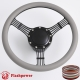 """5-String Banjo 14"""" Black Billet Steering Wheel Kit Half Wrap with Horn Button and Adapter"""