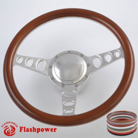 "Cruisin 14"" Polished Billet Steering Wheel Kit Half Wrap with Horn Button and Adapter"