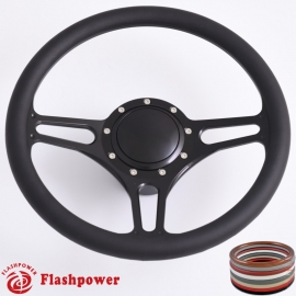 """Troika 14"""" Black Billet Steering Wheel Kit Half Wrap with Horn Button and Adapter"""