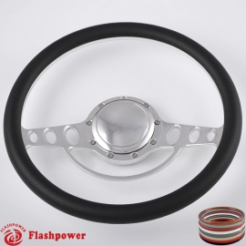 "Good Times 14"" Polished Billet Steering Wheel with Half Wrap and Horn Button"