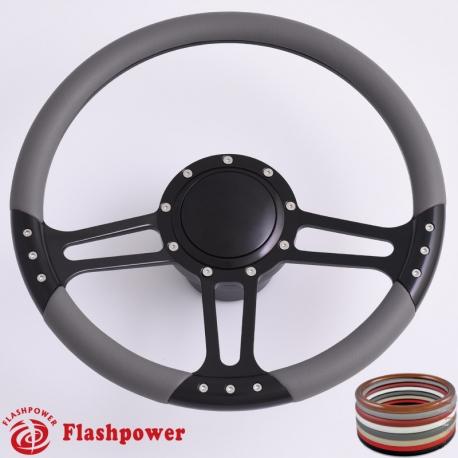 14/'/' Billet Black Steering Wheels Half Wrap Restoration Ford Falcon Torino
