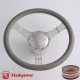 """5-String Banjo 15.5"""" Polished Billet Steering Wheel Kit Half Wrap with Horn Button and Adapter"""
