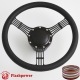 """5-String Banjo 15.5"""" Black Billet Steering Wheel Kit Half Wrap with Horn Button and Adapter"""
