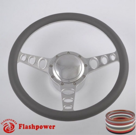 """Cruisin 15.5"""" Polished Billet Steering Wheel Kit Half Wrap with Horn Button and Adapter"""