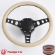 """Cruisin 15.5"""" Black Billet Steering Wheel Kit Half Wrap with Horn Button and Adapter"""