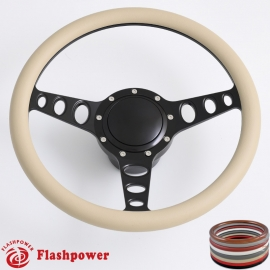 "Cruisin 15.5"" Black Billet Steering Wheel Kit Half Wrap with Horn Button and Adapter"