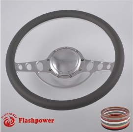 """Good Times 15.5"""" Polished Billet Steering Wheel Kit Half Wrap with Horn Button and Adapter"""