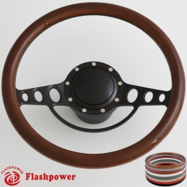 "Good Times 15.5"" Black Billet Steering Wheel Kit Half Wrap with Horn Button and Adapter"