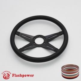 "Racer VI 14"" Black Billet Steering Wheel with Half Wrap Rim"