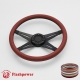 """Racer VI 14"""" Black Billet Steering Wheel with Half Wrap and Horn Button"""