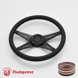 "Racer VI 14"" Black Billet Steering Wheel with Half Wrap and Horn Button"