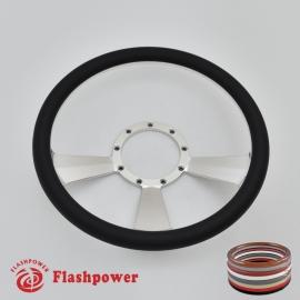 """Radiant 14"""" Polished Billet Steering Wheel with Half Wrap Rim"""