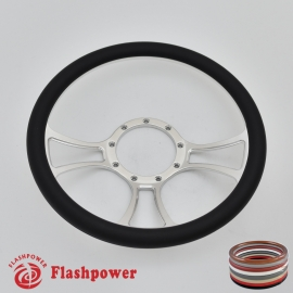"Viral 14"" Polished Billet Steering Wheel with Half Wrap Rim"