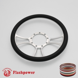 "Viral 14"" Satin Billet Steering Wheel with Half Wrap Rim"