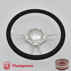 "Viral 14"" Polished Billet Steering Wheel with Half Wrap and Horn Button"