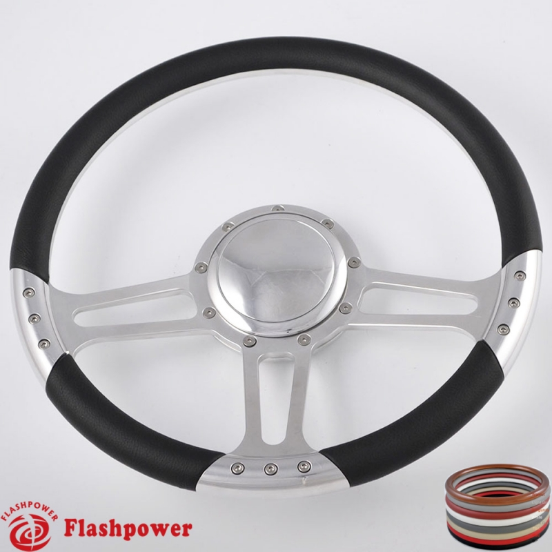 Flashpower 14 Billet Half Wrap Steering Wheel with 6 Bolts 2 Dish and Horn Button Black