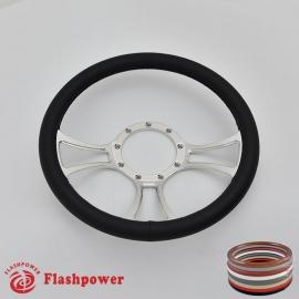"Viral 14"" Polished Billet Steering Wheel with Full Wrap"