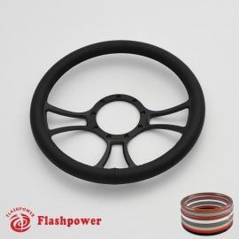 """Viral 14"""" Black Billet Steering Wheel with Full Wrap"""
