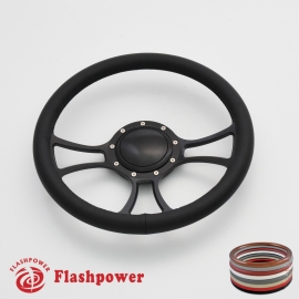 """Viral 14"""" Black Billet Steering Wheel with Full Wrap and Horn Button"""