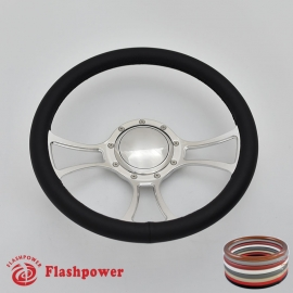"""Viral 14"""" Polished Billet Steering Wheel with Full Wrap and Horn Button"""