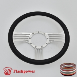 "Zephyr 14"" Polished Billet Steering Wheel with Half Wrap Rim"