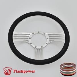 "Zephyr 14"" Polished Billet Steering Wheel with Half Wrap Rim"