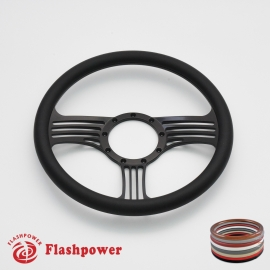 """Zephyr 14"""" Black Billet Steering Wheel with Half Wrap Rim"""