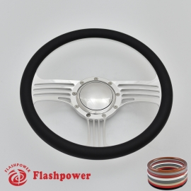 "Zephyr 14"" Polished Billet Steering Wheel with Half Wrap and Horn Button"