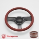 """Zephyr 14"""" Black Billet Steering Wheel with Half Wrap and Horn Button"""