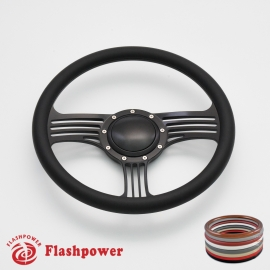 "Zephyr 14"" Black Billet Steering Wheel with Half Wrap and Horn Button"