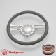 """Zephyr 14"""" Satin Billet Steering Wheel with Half Wrap and Horn Button"""
