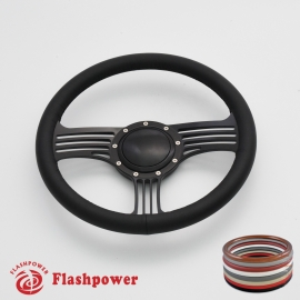 """Zephyr 14"""" Black Billet Steering Wheel with Full Wrap and Horn Button"""
