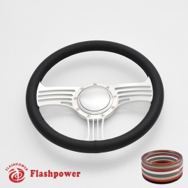 """Zephyr 14"""" Satin Billet Steering Wheel with Full Wrap and Horn Button"""