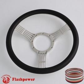 """5-String Banjo 15.5"""" Polished Billet Steering Wheel with Half Wrap Rim"""