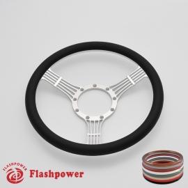 """5-String Banjo 15.5"""" Satin Billet Steering Wheel with Half Wrap Rim"""