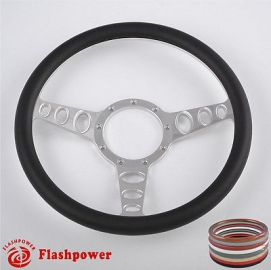 "Cruisin 15.5"" Polished Billet Steering Wheel with Half Wrap Rim"