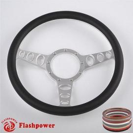 "Cruisin 15.5"" Polished Billet Steering Wheel with Half Wrap Rim"