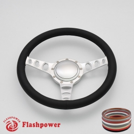 """Cruisin 15.5"""" Satin Billet Steering Wheel with Full Wrap and Horn Button"""